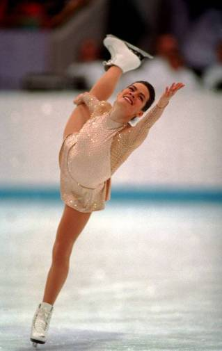 25 FEB 1994: NANCY KERRIGAN OF THE UNITED STATES IN ACTION IN THE FREE PROGRAM AT THE 1994 LILLEHAMMER WINTER OLYMPICS. KERRIGAN TAKES THE SILVER. Mandatory Credit: Clive Brunskill/ALLSPORT